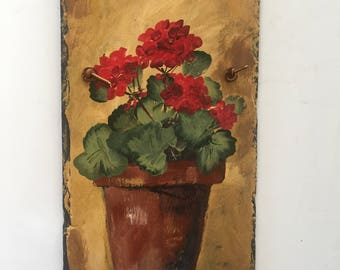 Red geranium garden Art, Garden Gift, Spring decor decor. Spring flowers, Garden Decor, Door hanger, Garden decoration, Garden, wall hanging
