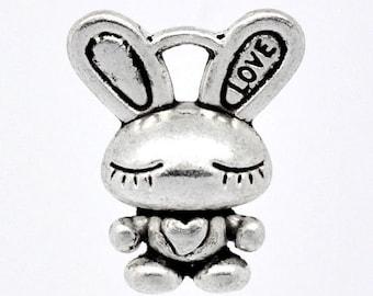 6 Bunny Rabbit Charms, Antique Silver Tone (1K-179)
