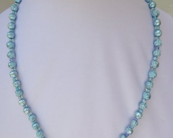 Carved Pale Blue Roses Necklace