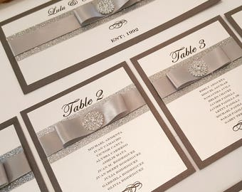 Luxury  Rhinestone Seating Chart with Heading. Gorgeous Glitter Seating Chart includes 8 tables and heading. Color can be customized