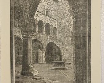 Bargello Museum Italy - Woodcut Print