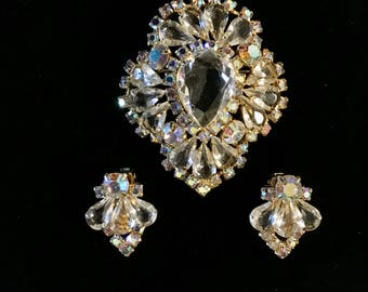 Crystal Brooch And Earring Set