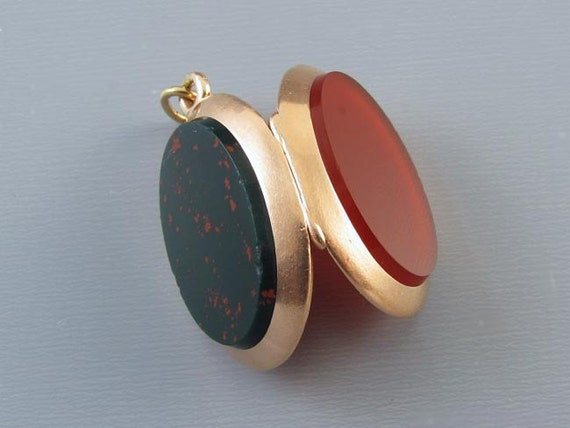 Antique Victorian 14k rose gold carnelian and bloodstone two side pocket watch locket fob, charm, pendant, necklace