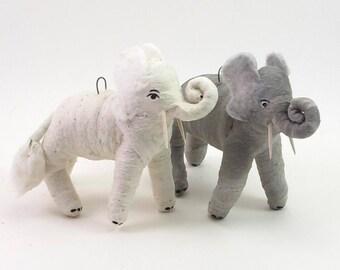 READY TO SHIP Vintage Inspired Spun Cotton Gray Elephant Ornament/Figure