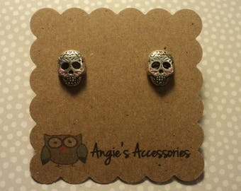 Sugar skull tiny stud earrings