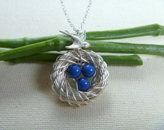 Bird Nest Necklace with three eggs - Mother's Day Gift - Mom Necklace - Mothers day Necklace - Mama Bird - Mommy Jewelry