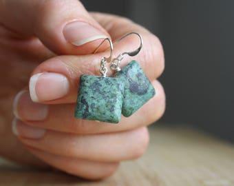 Raw Turquoise Earrings Dangle . Square Earrings Turquoise Sterling Silver . African Turquoise Dangle Earrings