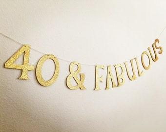 30/40/50/60 Birthday Banner, 40 & Fabulous Banner, Milestone Birthday Banner, 30th Birthday Banner, 50th Birthday Banner, 60th birthday