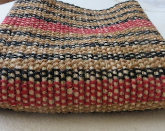 Hand Woven Small Rug, Mat, Homeware, striped wool clay red,black,tan handweaving,rustic home accessory, woollen, throw,slow cloth,