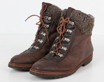 Vintage Brown Women Leather Boots/ Size EU 39