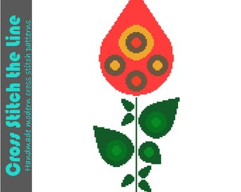 Retro floral cross stitch pattern. Modern embroidery chart. Contemporary design. Fun teardrop flower in bright colours.