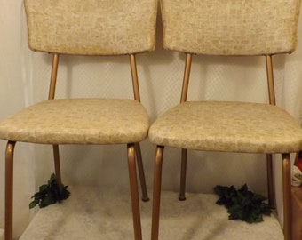Vintage 70's Retro Brown Dining Chairs by Chromcraft.  Set of Two