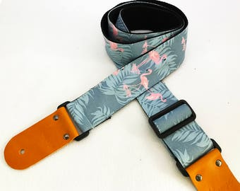 NuovoDesign unique Flamingo Guitar strap. leather parts with free end pin and tie string