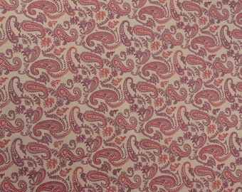 Vintage Paisley Fabric, Paisley Apparel Fabric, Quilting Fabric, Vintage Cotton Material, Fabric by the Yard - 3/4 Yard - VW0109