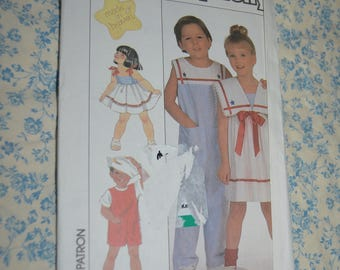 Simplicity 9073 Childs Overalls in Two Lengths and Dress with Detachable Collar Sewing Pattern - UNCUT - Size 2