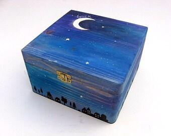 XX Large keepsake box, Hand-painted memory box, Personalised children's box,  Starry night design