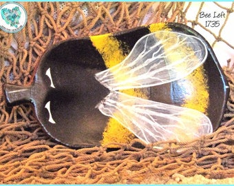 BumbleBee Ring Keeper, Handpainted Wood Art, *black, yellow, white* #1735