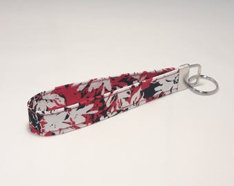 White with Red and Black Floral Fabric Keychain / Wristlet / Key Fob