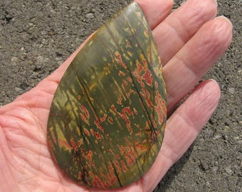HUGE teardrop Red Creek Jasper designer cabochon in outstanding greens, coral and orange. 50 x 85 mm.  125L0256
