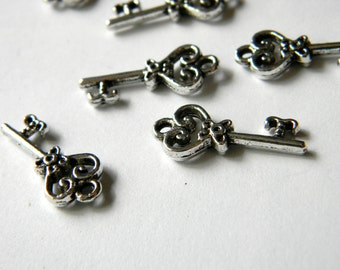 Small Key Charms Set of 10 Silver Color 21x19mm
