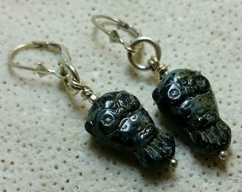 Wise Old Owl Earrings - Sterling Silver and Black Picasso Czech Glass - Handmade
