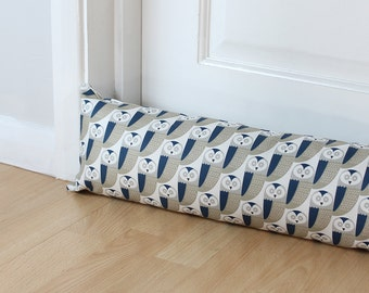 Draught Excluder Grey and Blue Owl Print Animal Fabric Scandi Home Kids Bird Pattern Woodland Long UK