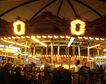 Chicago Photography, Kiddieland, vintage carnival photography, Chicago Art, carousel, amusement park, golden lights, brown, children's room