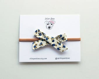 The Anne Blue and White Prairie Floral Hand-tied Cotton Bow, Newborn Headbands, Baby Headbands, Baby Bows, Handtied Bows, Cotton Fabric Bows