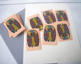 1970s Cute Owls Playing Cards - Used - For Collage Art Upcycle