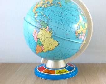 Vintage Ohio Art Litho Tin World Globe