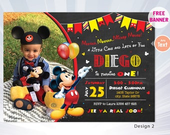 Mickey mouse birthday invitation - mickey birthday invitation - boy birthday party - boy invitation - mickey invitation - personalized