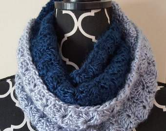 Blue and Silver Infinity Scarf