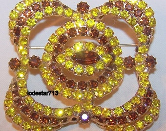 Costume Jewelry Brooch and Clip Earring Set Amber Brown Yellow Rhinestones