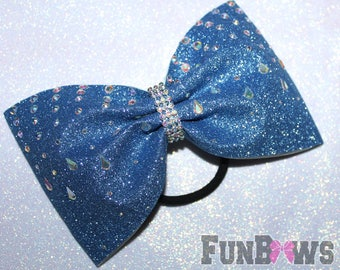 Beautiful X-large glitter AB rhinestone tailless cheer bow by FunBows !