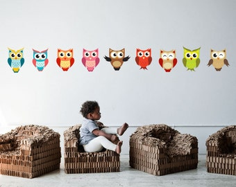 Full Colour Wall Decal Cute Set Of Owls Nursery Kids Bedroom Baby Room Wall Stickers