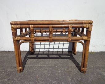 Rattan Coffee Table Bohemian Boho Chic Accent Stand Chippendale Chinese Faux Bamboo Palm Beach Chinoiserie Hollywood Regency Beachy Miami