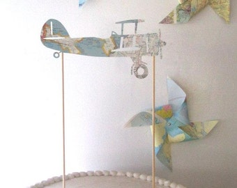 Vintage Airplane Cake Topper, Vintage Map Airplane, Transportation Party, Vintage Maps, Boy's Travel Theme Party, Travel Theme Baby Shower