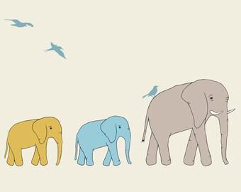 Let's Follow Mom Print, Fine Art Print by Kate Durkin, Nursery Art Print, Elephant Print