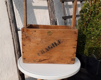 BASKET vintage wooden folk art solid