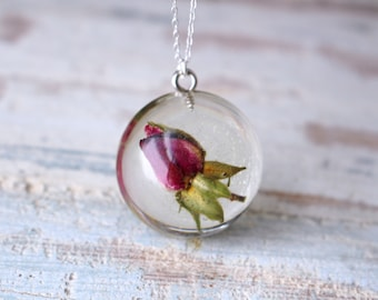 Real Rosebud Resin Pendant Sterling Silver Necklace