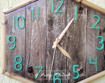 Recycled wood clock, bamboo wood clock, eco tropical clock, handmade clock, unique gift, wall decoration, home decor