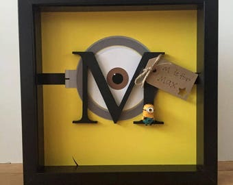 Personalised Minions Initial Frame | personalised gift, personalised birthday gift/Christmas gift
