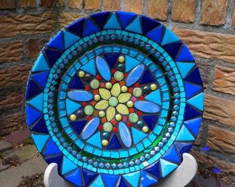 mozaieke wandschaal, fruitschaal, wanddecoratie, mosaic platter plate