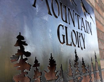 Custom Metal Mountain Sign - Mountains, Pine Trees, Personalized Text