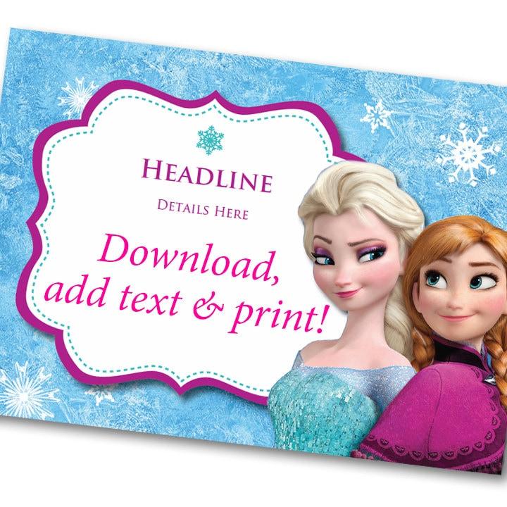 Disney Frozen Invitation Printable INSTANT DOWNLOAD