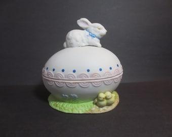 Vintage Bisque Egg with Bunny & Chicks Trinket Holder