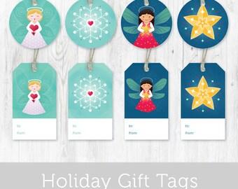 Printable Christmas Tags - Angels, Stars and Snowflakes DIY Christmas Gift Tags - Printable Holiday Gift Tags - Instant Download