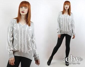 Vintage 90s Grey + White VNeck Oversized Knit S M L Vintage Sweater Oversized Sweater Vintage Jumper White Sweater Grey Sweater