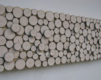 Wood Slice Wall Art  Rustic Sculpture Abstract  Tree Branch Rings  12x36 Made To Order