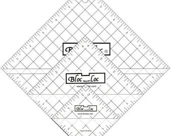 Bloc-Loc Half-Square Triangle Ruler Set #2, Trimming Ruler, Acrylic Ruler, Quilting Ruler, Square Up Ruler